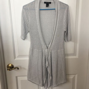 WHBM Short Sleeve Ribbed Silver Cardigan